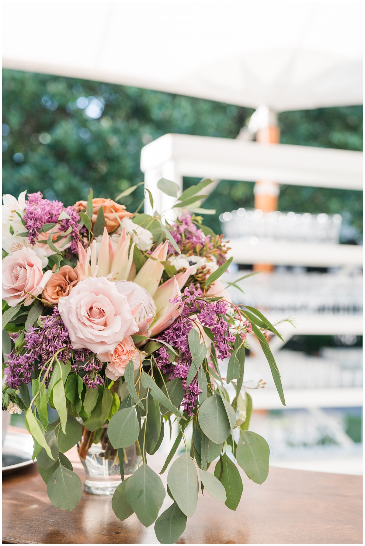 pink and purple floral display for Gibbes Museum wedding