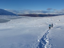 Walking out after a day on Ben Nevis
