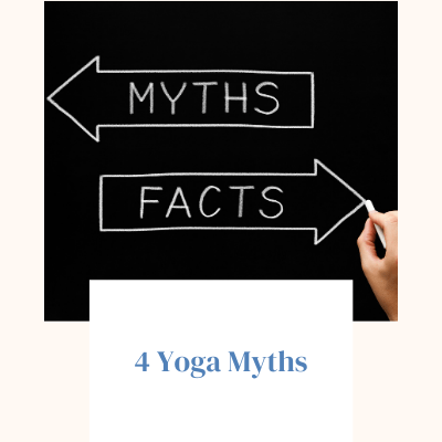 """Image of an arrow with the word """"myth"""" inside of it pointing left and another arrow with the word """"facts"""" in it pointing right. Below it says the title of the blog post """"4 Yoga Myths"""""""