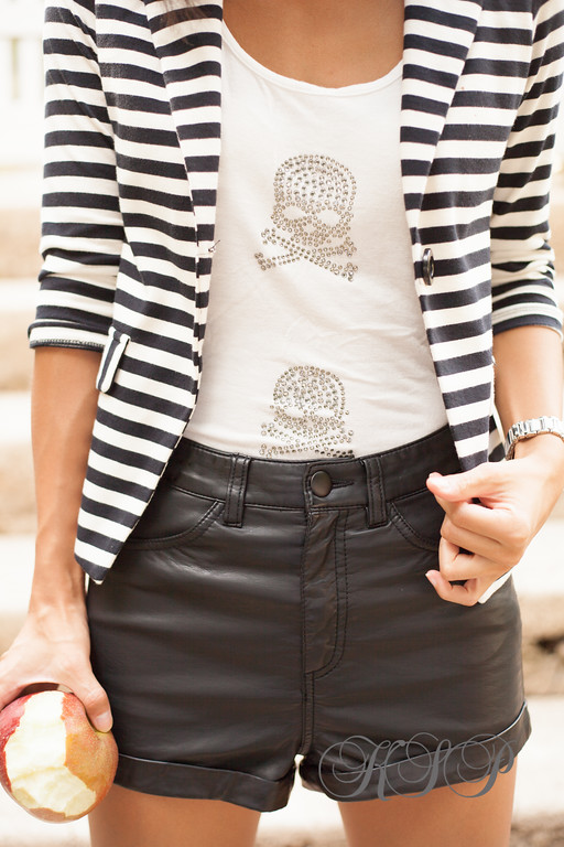 H&M Leather Shorts, Marshalls Jacket, #fabfound, Charolotte Russe