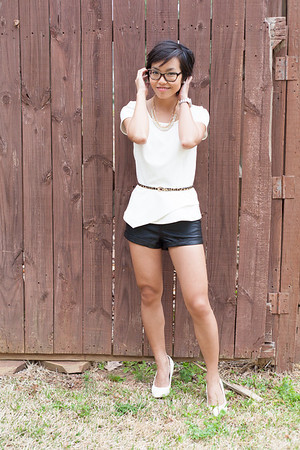 Kate Style Petite l Leather Shorts and White peplum top