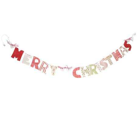 A photo of a handmade ceramic Merry Christmas Garland