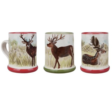 A photo of a selection of handmade and painted ceramic deer mugs