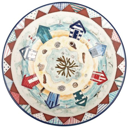 A photo of a handmade ceramic Large Patchwork seaside bowl
