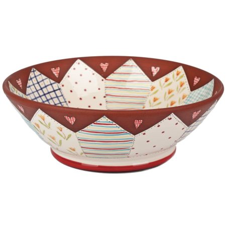 A photo of a handmade ceramic Large Floral patchwork Bowl