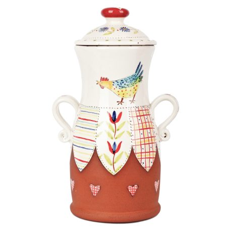 A photo of a handmade ceramic pasta jar