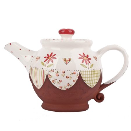 A photo of a handmade ceramic Medium sized floral teapot