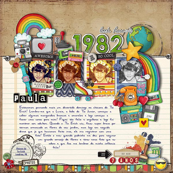 Child of the 80's   Digital scrapbook layout by Kate Hadfield Designs creative team member Paula