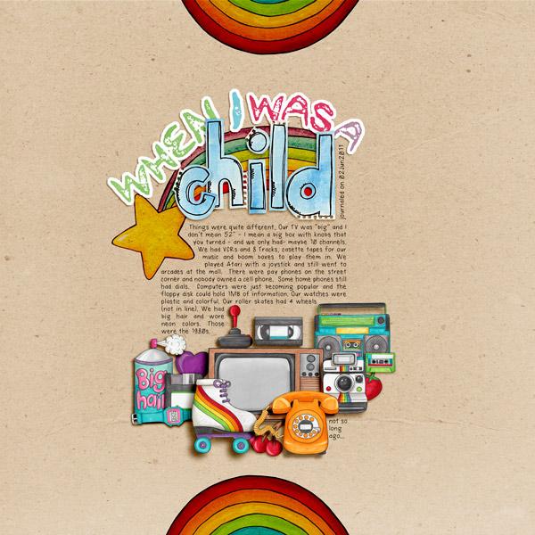 Child of the 80's   Digital scrapbook layout by Kate Hadfield Designs creative team member Rachel