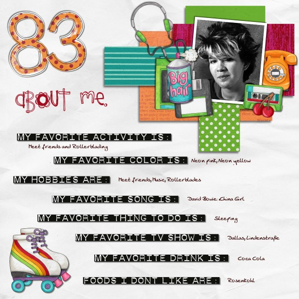 Child of the 80's   Digital scrapbook layout by Kate Hadfield Designs creative team member Tami