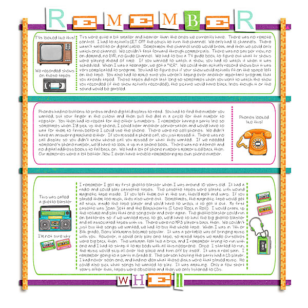 Child of the 80's | Digital scrapbook layout by Kate Hadfield Designs creative team member Tiki