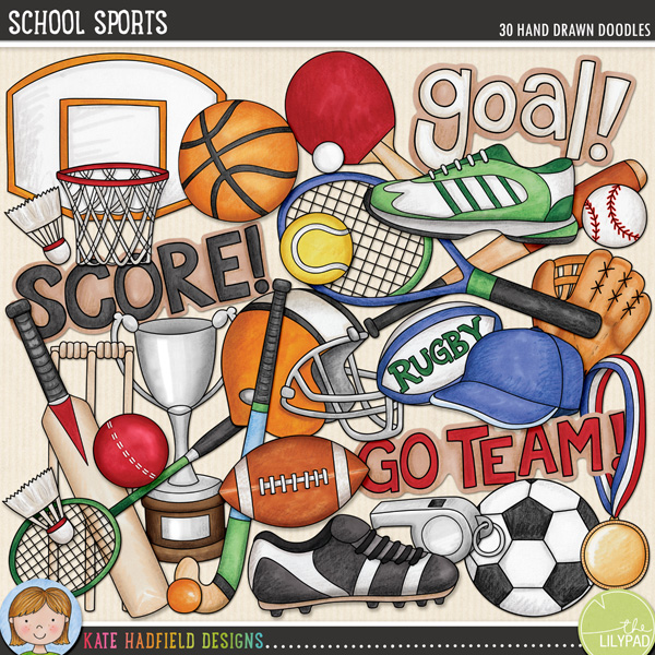 School Sports doodles by Kate Hadfield Designs