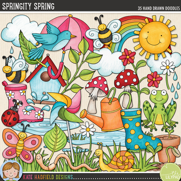 Springity Spring digital scrapbooking elements from Kate Hadfield Designs