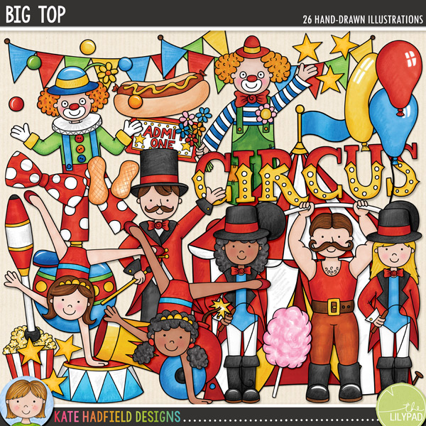 Big Top | Circus digital scrapbooking elements from Kate Hadfield Designs