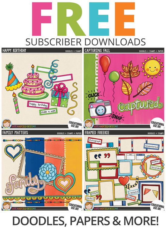 FREE doodles, clip art, digital stamps and papers from Kate Hadfield Designs!