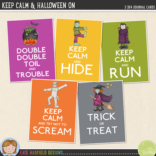 Keep Calm and Halloween On FREE filler cards by Kate Hadfield and Sara Lively!
