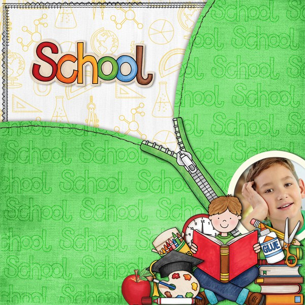 Back to school digital scrapbooking page | school scrapbook layout ideas | Kate Hadfield Designs creative team layout by Karen
