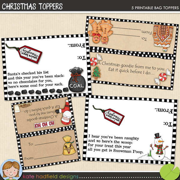 FREE Christmas bag topper printables from Kate Hadfield Designs - so cute!