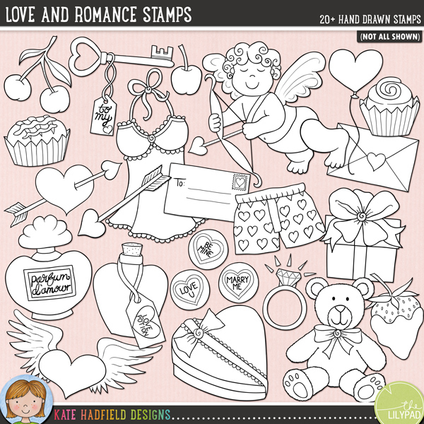 Love and Romance Stamps by Kate Hadfield