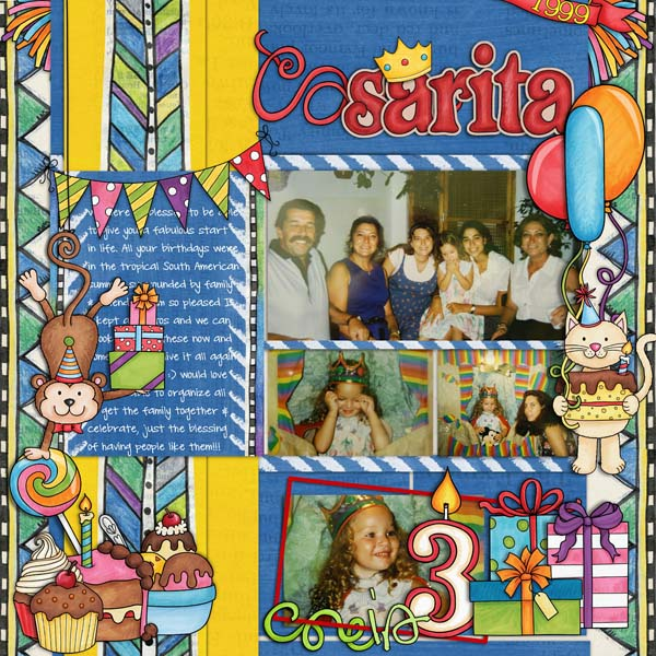 Part Animals digital scapbook page / birthday scrapbook layout ideas! Layout by Kate Hadfield Designs creative team member Cynthia