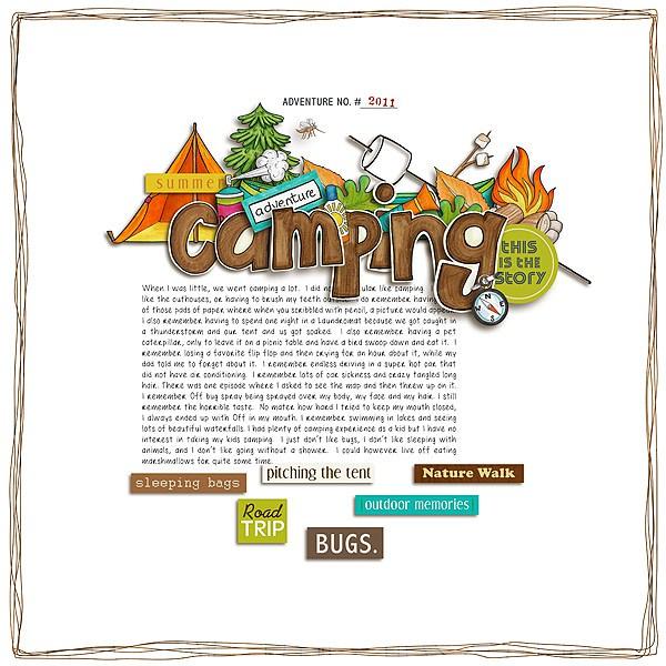 Summer Camp - digital scrapbooking layout from Kate Hadfield Designs creative team member Tiki