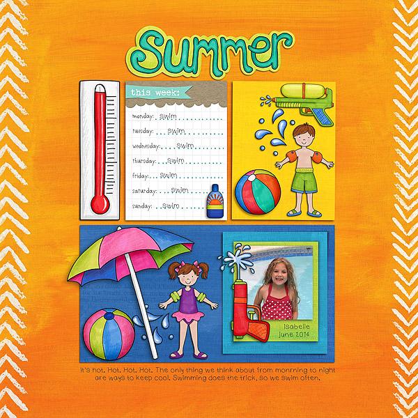 Summer digital scrapbooking page | scrapbook layout ideas | Kate Hadfield Designs creative team layout by Trista