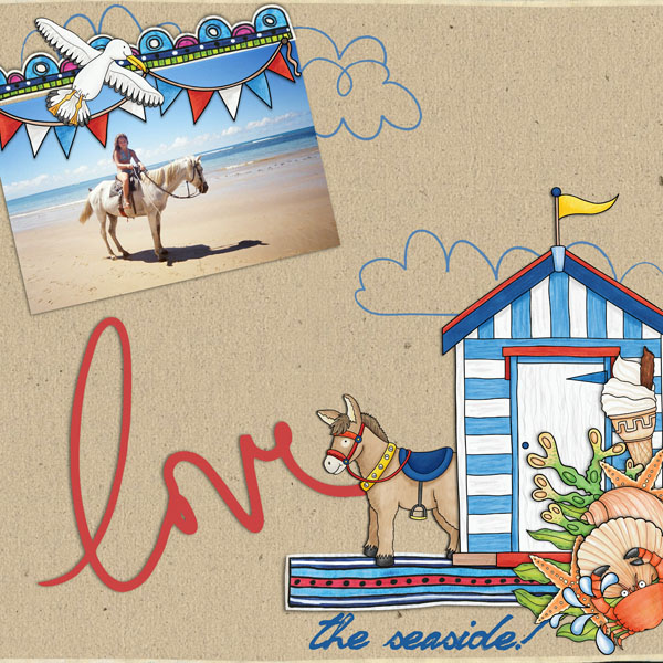 """Digital scrapbook layout created with """"Beside the Seaside"""" from Kate Hadfield Designs! 