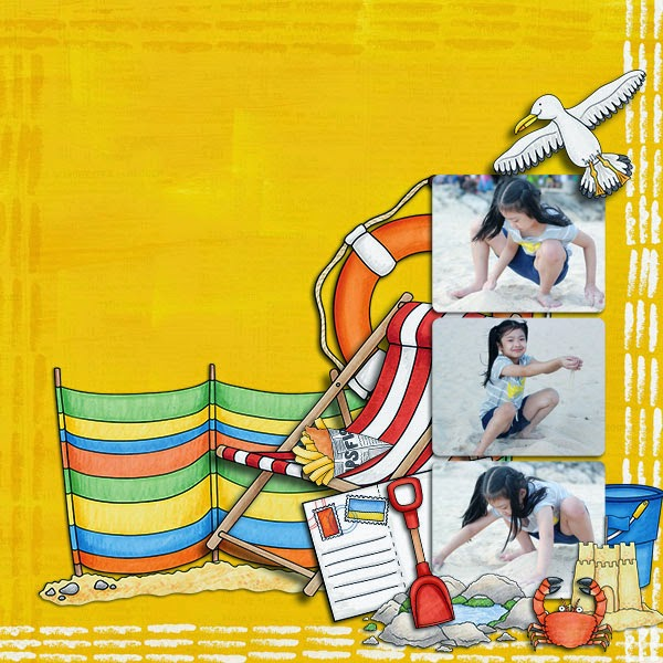 Beside the Seaside digital scrapbooking page | vacation scrapbook layout ideas | Kate Hadfield Designs creative team layout by Winnie