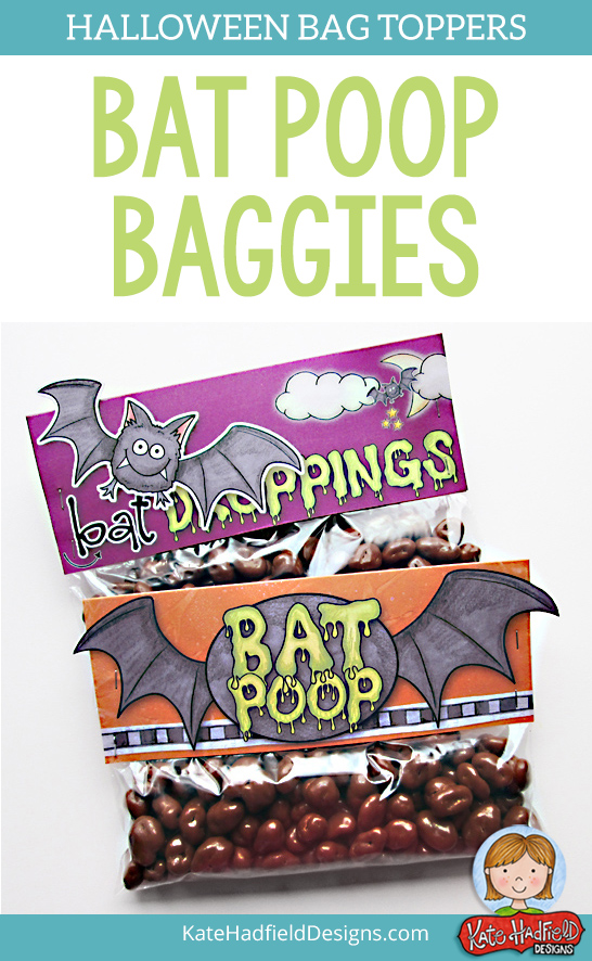 """Bat Poop"" Bag Toppers FREE printables from Kate Hadfield Designs! Print these Halloween bag toppers and attach to bags of chocolate raisins for a gruesome Halloween gift! Great for Halloween favours and parties."