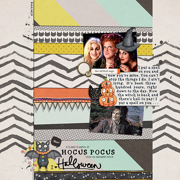 Halloween scrapbooking ideas! Halloween digital scrapbook layout by Kate Hadfield Designs creative team member Christine