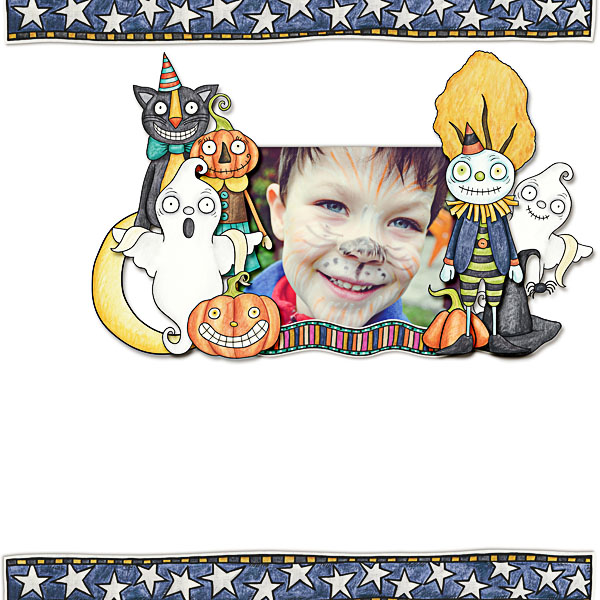 Halloween scrapbooking ideas! Halloween digital scrapbook layout by Kate Hadfield Designs creative team member Dagi