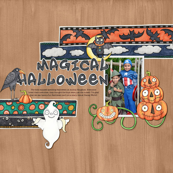 Halloween scrapbooking ideas! Halloween digital scrapbook layout by Kate Hadfield Designs creative team member Stephanie