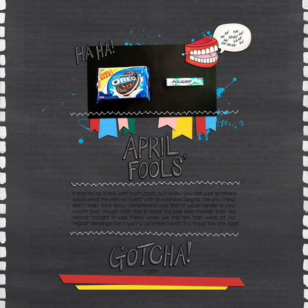 April Fools Day digital scrapbooking page | scrapbook layout ideas | Kate Hadfield Designs creative team layout by Keela