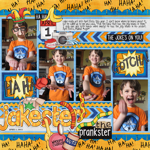April Fools Day digital scrapbooking page | scrapbook layout ideas | Kate Hadfield Designs creative team layout by Rebecca