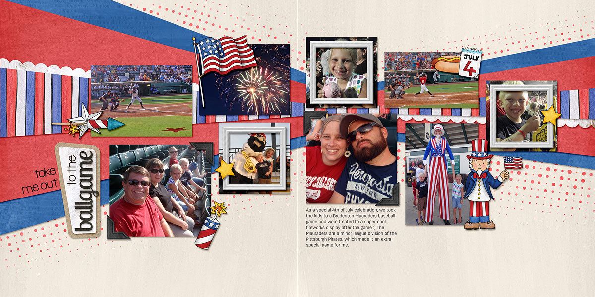 "4th July digital scrapbook page | scrapbook layout ideas | Kate Hadfield Designs Creative Team layout created with ""Star Spangled"" 