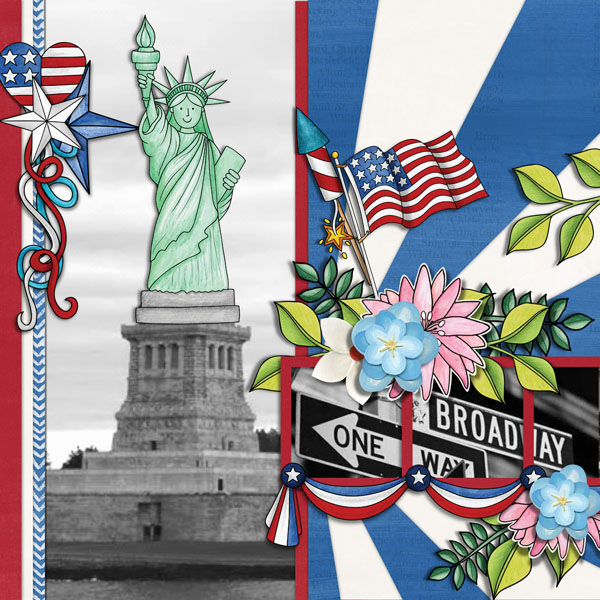 """4th July digital scrapbook page 