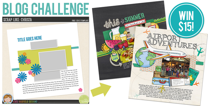 Kate Hadfield Designs August 2015 FREE clbog challenge template