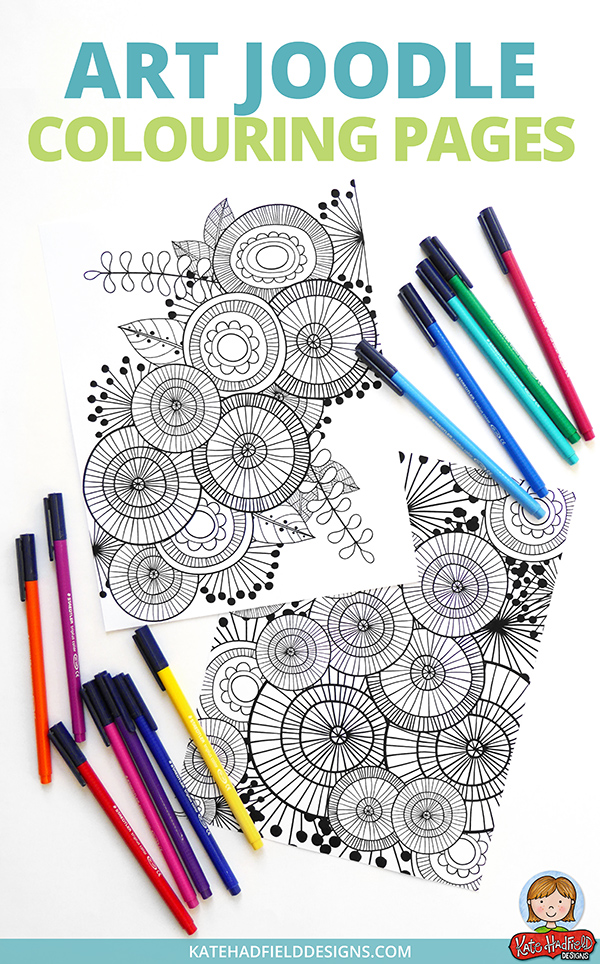Funky colouring page freebie from Kate Hadfield Designs! Download these abstract Art Joodle coloring pages and color using your favourite art materials - this is a fun and relaxing colouring activity for kids and grown-ups alike!