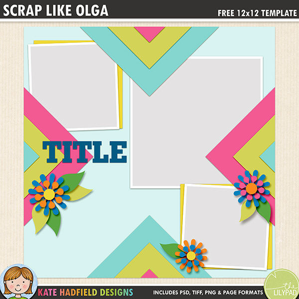 Free digital scrapbooking template / scrapbook sketch from Kate Hadfield Designs! This eye-catching template is perfect for showcasing your favourite photos and patterned papers! Free download contains PSD, TIFF, PNG and .PAGE file formats.