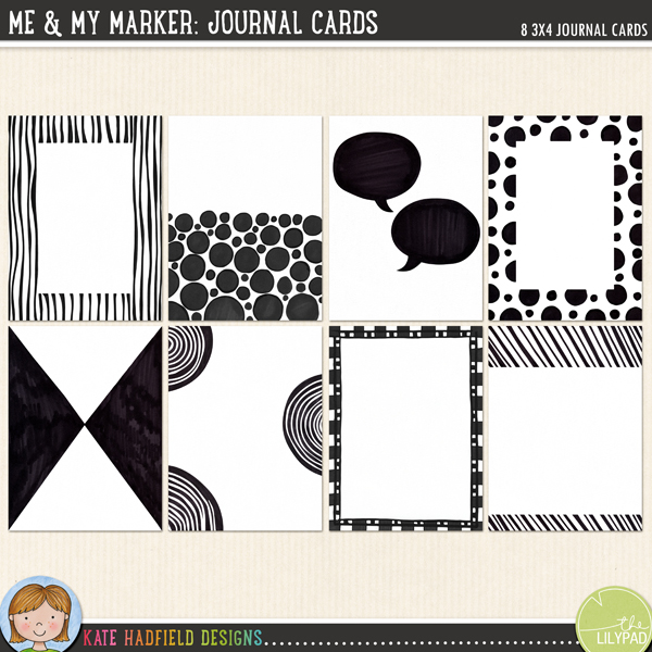 Me and My Marker: Journal Cards *FREE* download from Kate Hadfield Designs