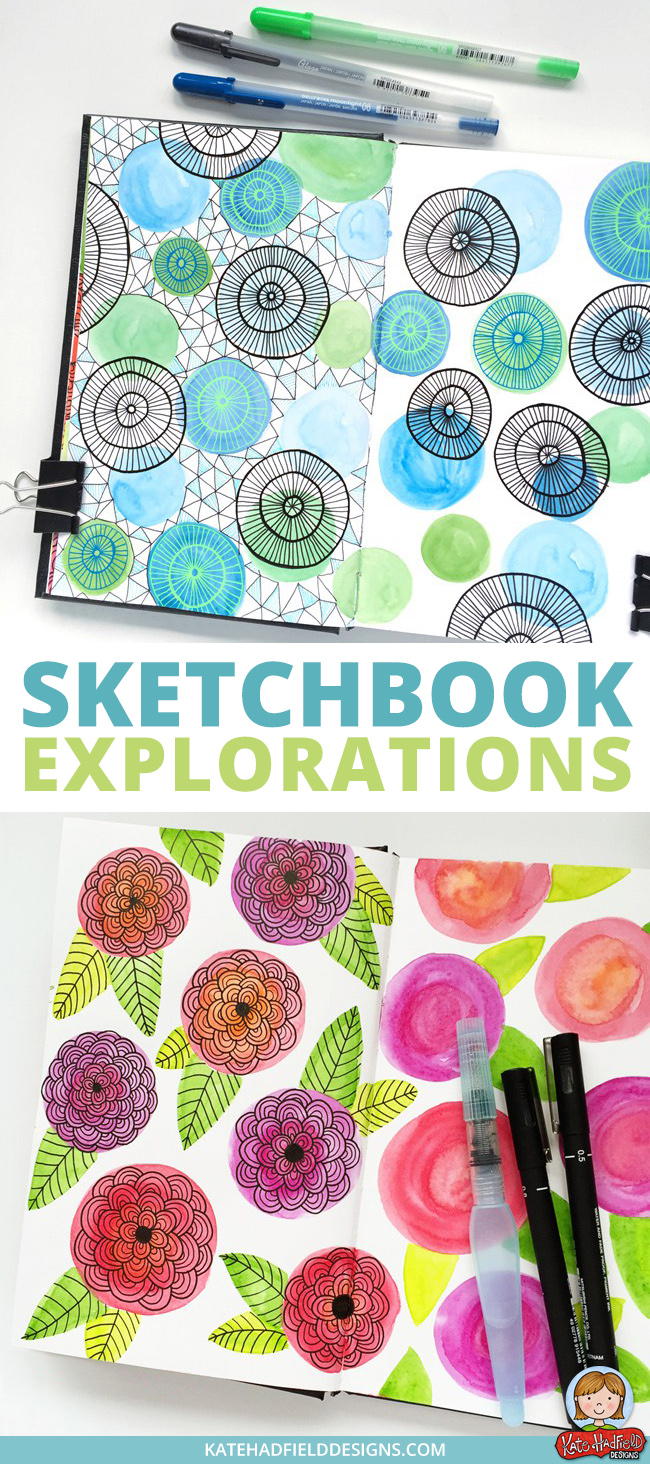 Sketchbook exercises and art journal pages inspired by Lisa Congdon's Sketchbook Explorations course - this is a really fun course to jump-start your creativity and get you playing in your sketchbook!  A collection of sketchbook drawings, mixed media and art journal pages from Kate Hadfield. Click for more pages, a supply list and tips to get started!