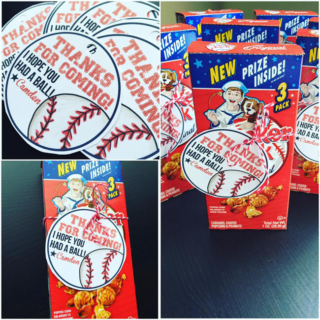 Baseball party favours - Primary Punch - Kate Hadfield Designs