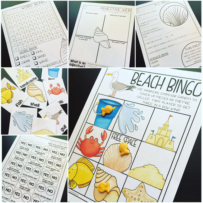 There Was An Old Lady Who Swallowed A Shell activity pack - Primary Punch - illustrations by Kate Hadfield Designs