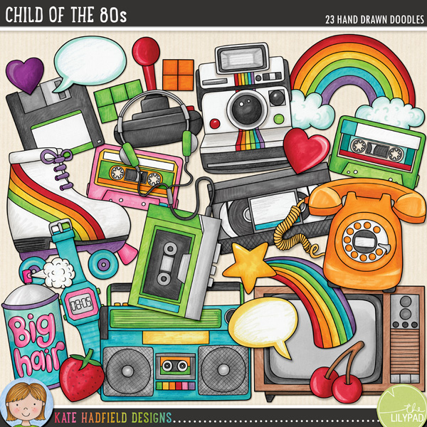 Child of the 80s digital scrapbooking elements from Kate Hadfield Designs