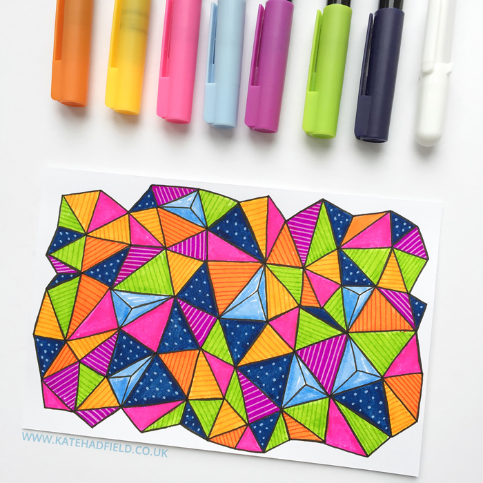 Index Card a Day 2016 - index card pattern by Kate Hadfield | sketchbook drawing | mixed media art journal