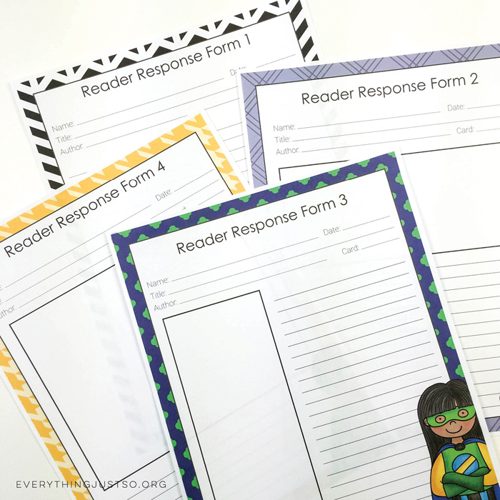 Superhero Reading Response Task Cards - everythingjustso.org - ~ Kate Hadfield Designs