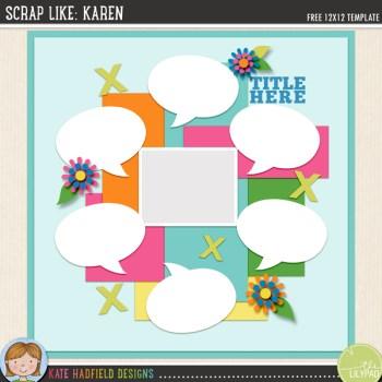 FREE Digital Scrapbooking template | Scrap Like Karen