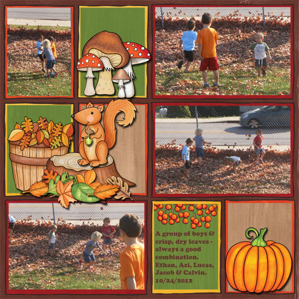 "Kate Hadfield Designs Creative Team ""Autumn & Fall"" Favourites: Digital scrapbook layout by Jenni"
