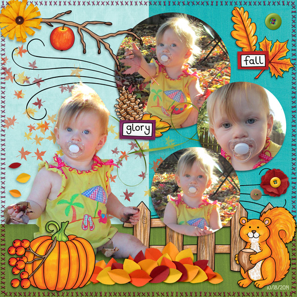"Kate Hadfield Designs Creative Team ""Autumn & Fall"" Favourites: Digital scrapbook layout by Molly"