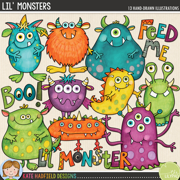 Lil' Monsters doodles from Kate Hadfield Designs